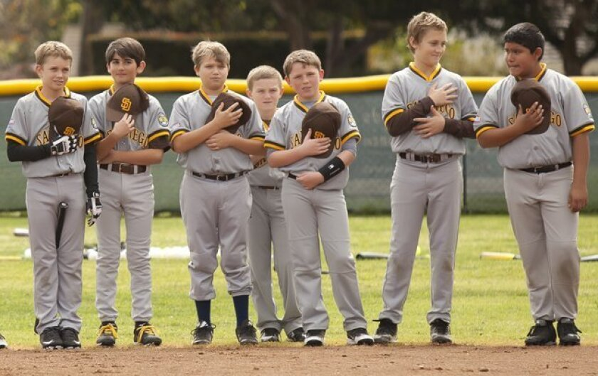 Sector 9 players during the National Anthem. (La Jolla Youth Baseball, Opening Day Feb. 28, 2015, Cliffridge Park in La Jolla)