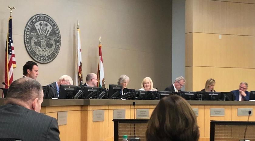 San Diego County Board of Supervisors vote on community choice aggregation on Oct. 15, 2019.