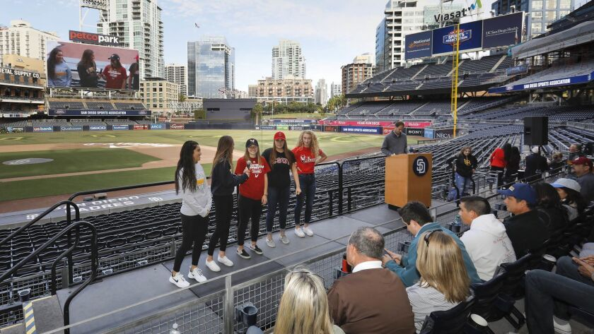 West Hills student athletes are introduced during the college scholarship announcement and signing party Wednesday at Petco Park.