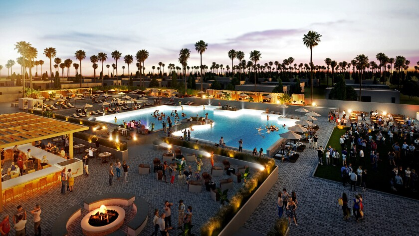 Rendering of the Las Vegas-style party pool at the Hotel Indigo resort.