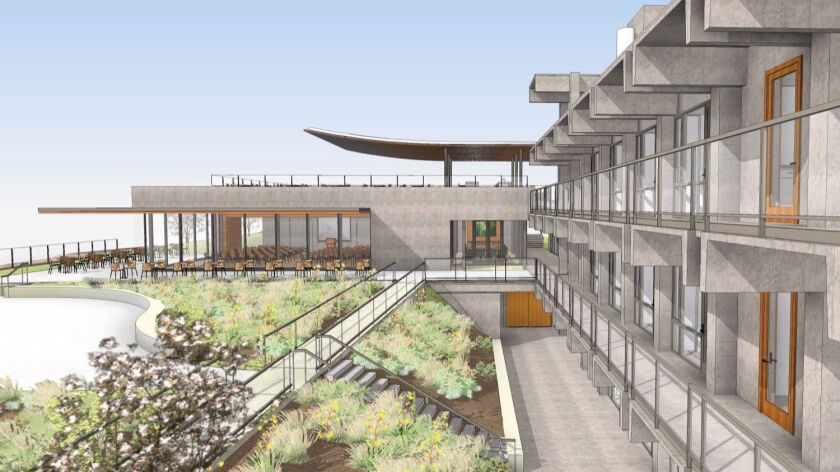 An artist's rendering of the remodeled Building 'B' on Scripps campus where the new 100-student forum, terraces and outdoor space can be appreciated.