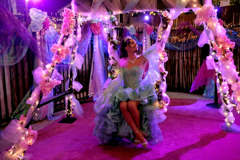 """Tonatiuh as Marcos Zamora in """"Vida."""" In this Season 3 episode, Lyn (played by Melissa Barrera) throws Marcos a queer, gender-bending quincea˜nera for his 30th birthday."""