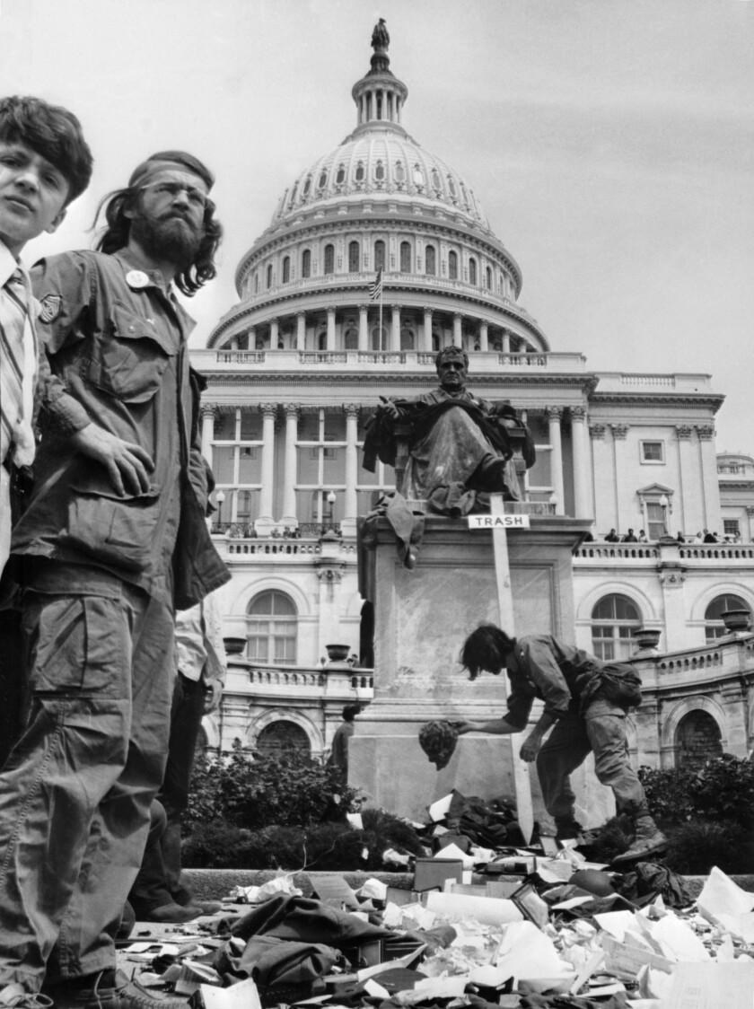 Veterans of the war in Vietnam protesting in Washington on 26 April 1971.