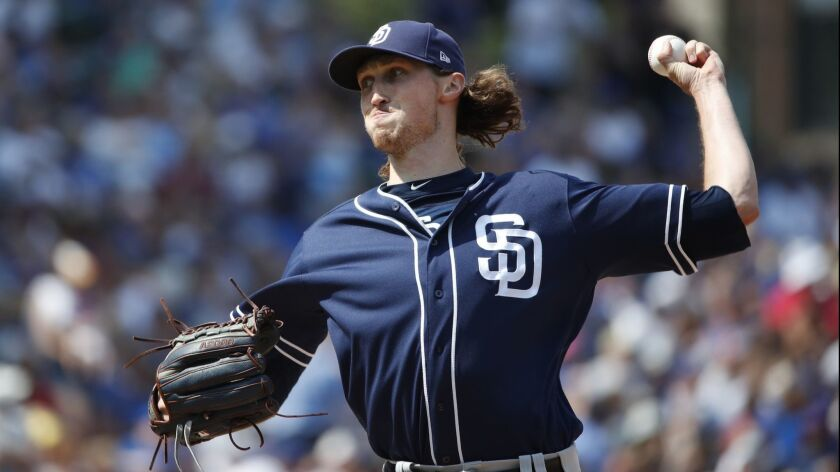 Matt Strahm pitches against the Chicago Cubs on Aug. 4 at Wrigley Field.