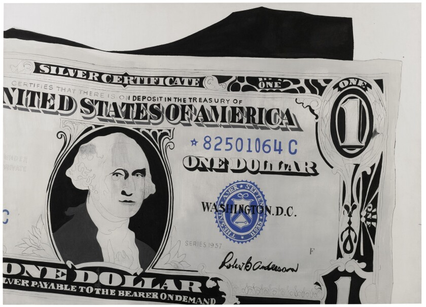 """A detail of Andy Warhol's painting from 1962, """"One Dollar Bill (Silver Certificate)."""""""