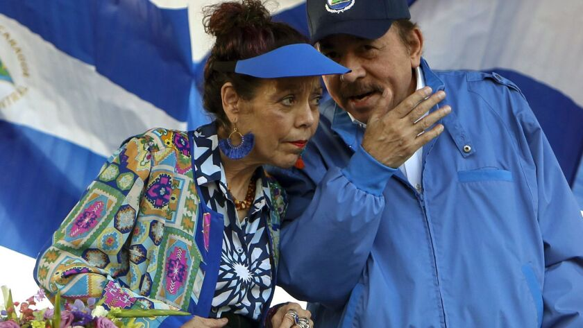 Nicaraguan President Daniel Ortega and his wife and Vice President Rosario Murillo, lead a rally in Managua, Nicaragua in September 2018.