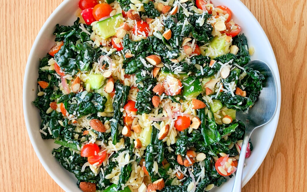 Kale, lots of crunchy vegetables and an assertive dressing make pasta salad worth eating again.