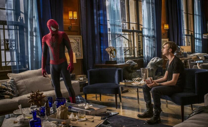 """Andrew Garfield, left, and Dane DeHaan in """"The Amazing Spider-Man 2."""""""