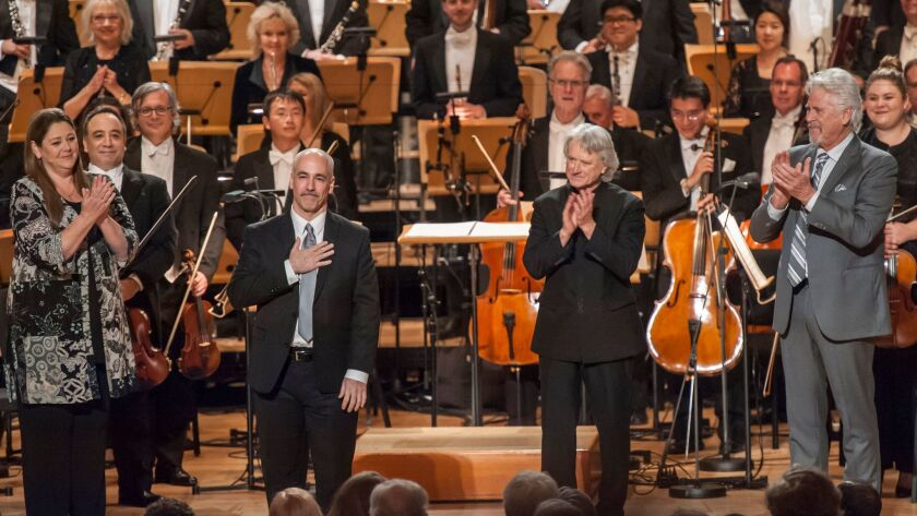 At the Saturday performance, from left: actress Camryn Manheim, composer Peter Boyer, conductor Carl