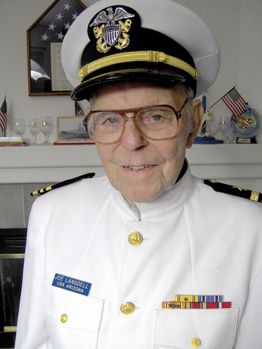 Navy Lt. Cmdr. Joe Langdell at his home in Yuba City, Calif., in 2006. Langdell had been the oldest living crew member of the battleship Arizona; he died Feb. 4 at 100.