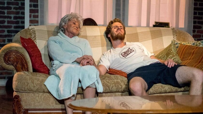 """Jill Drexler and Connor Sullivan in ion theatre's """"4000 Miles."""""""