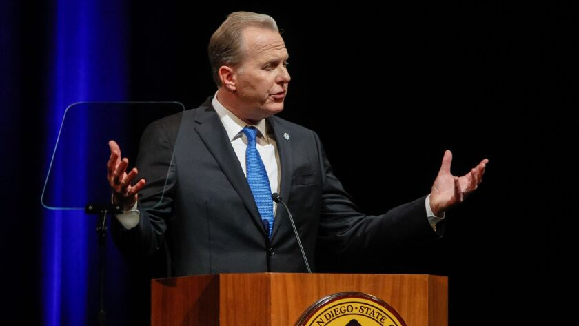 San Diego Mayor Kevin Faulconer delivers his State of the City speech on Tuesday night at the Balboa Theatre in San Diego, California.