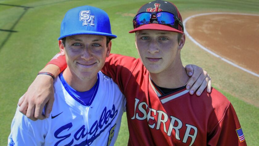 RANCHO SANTA MARGARITA ,CA., APRIL 23, 2019: ( left to right) Alex Schrier is a pitcher for Santa Ma