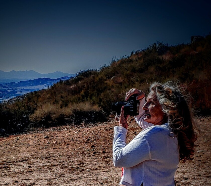 Toni Beckett capturing the view outside her Ramona house.