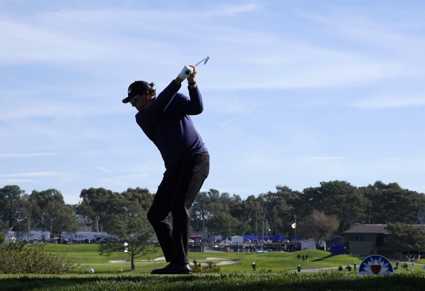 Phil Mickelson tees off at Torrey Pines during the Farmers Insurance Open in January.