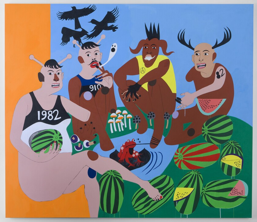"""Nina Chanel Abney's """"Forbidden Fruit"""" is among the pieces on display in a joint exhibition of the artist's works at the California African American Museum and the Institute of Contemporary Art Los Angeles."""