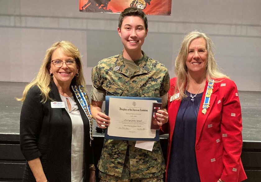 DAR Santa Margarita Chapter regent Laura Horn, JROTC Cadet First Sergeant Jamie Spiegel, Chapter chair Sarah Fagen.