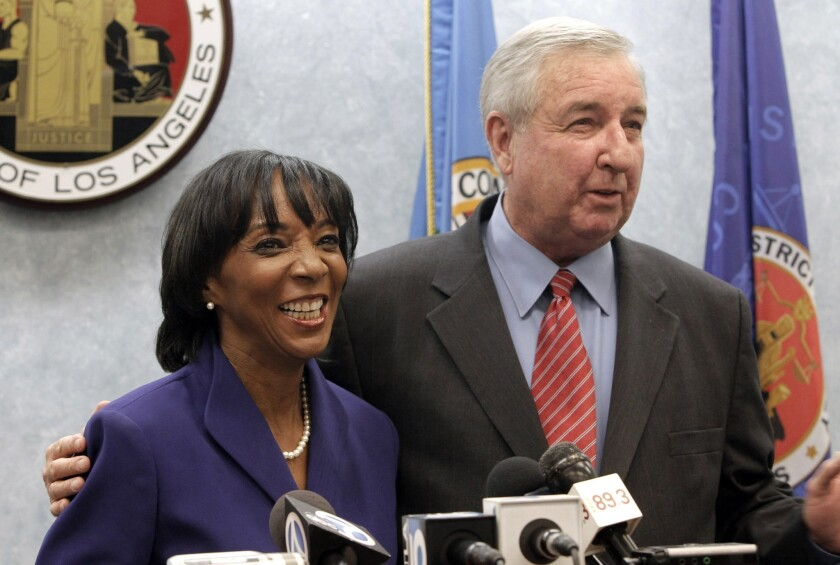 Jackie Lacey and Steve Cooley at a 2012 news conference.