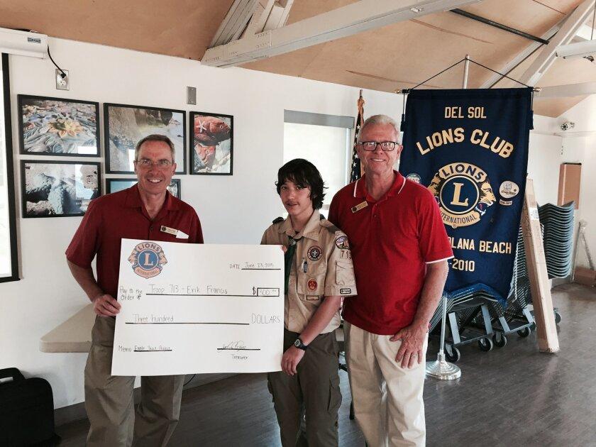L-R: John Page, Del Sol Lions treasurer; Eric Francis, Boy Scout Troop 713; David Cain, Del Sol Lions president