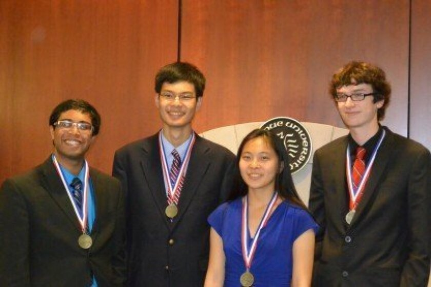 USA National Biology Olympiad Gold Medalist and USA Team Member Catherine Wu, Canyon Crest Academy (second from right).
