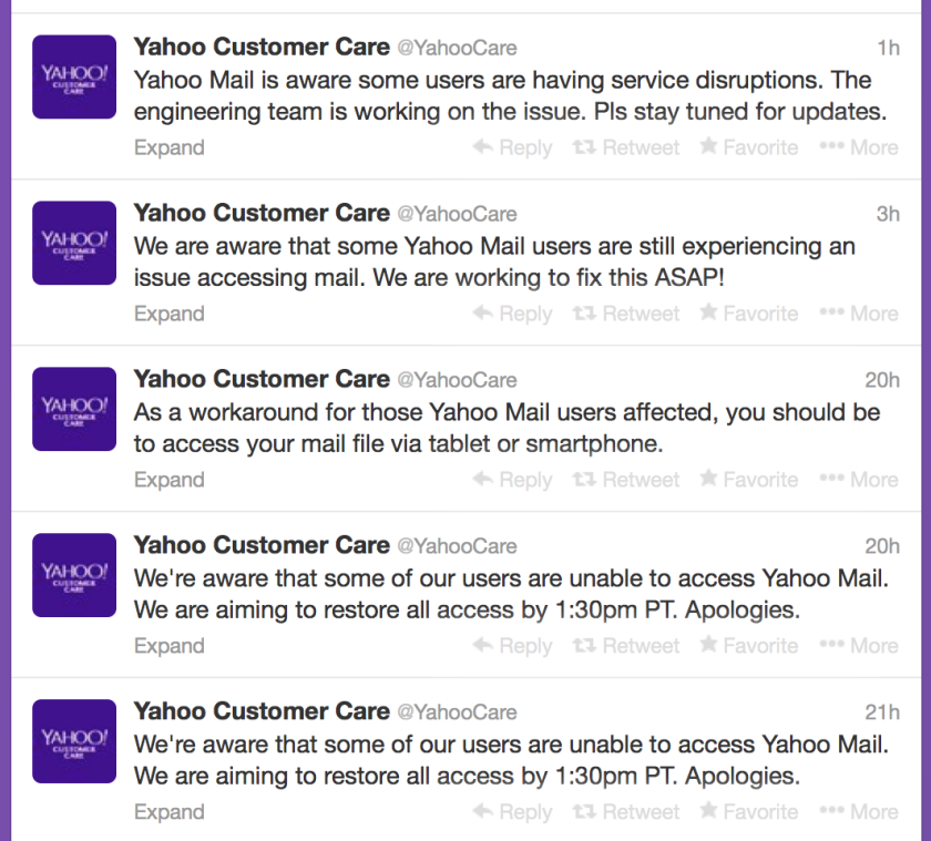 Yahoo has had to send out multiple tweets letting users know that it's aware that its email service is not working properly for everyone.