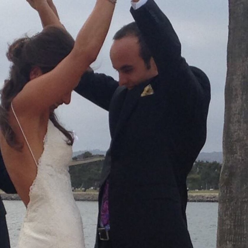 Newlywed soccer star Landon Donovan with Hannah Bartell in San Diego on their wedding day, May 3, 2015. He posted this photo on his Facebook page.
