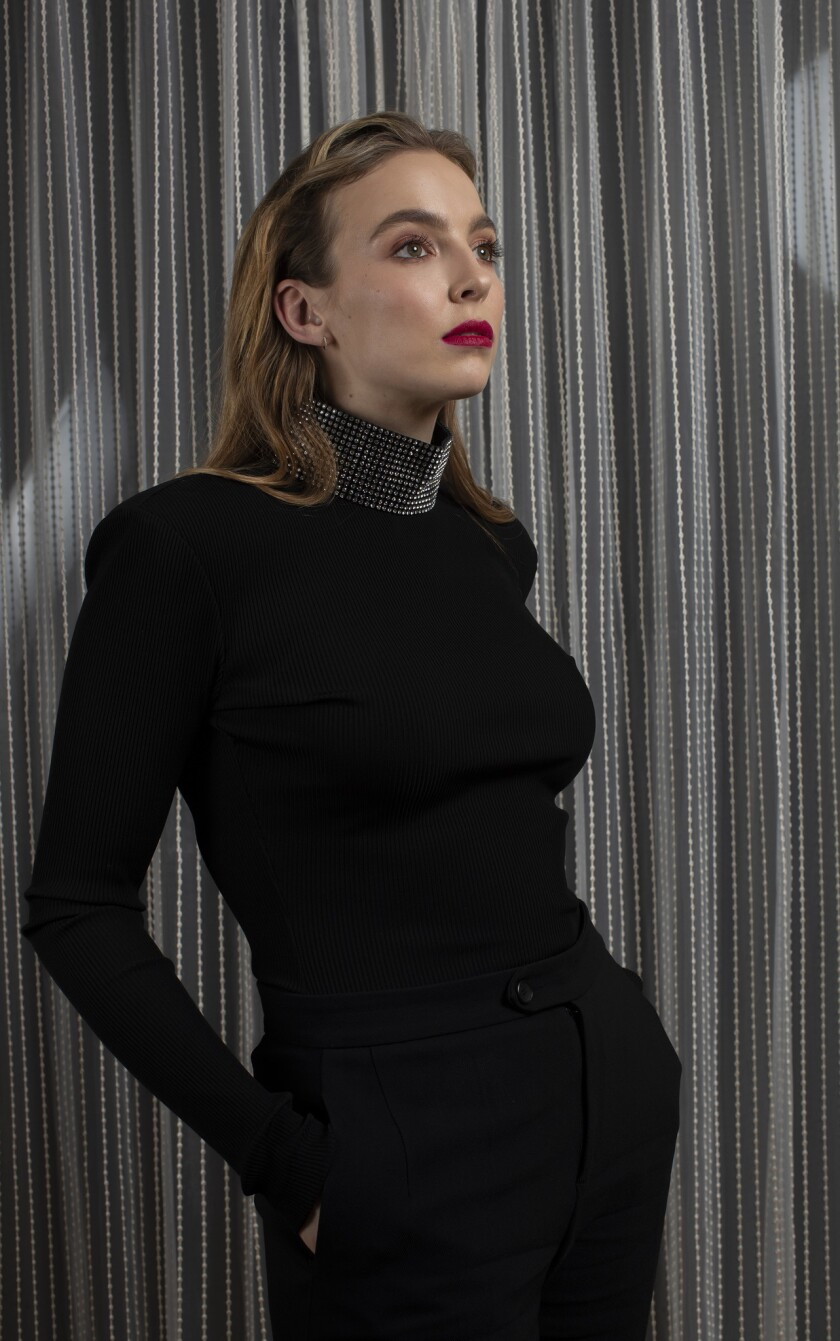 """Actress Jodie Comer who plays ruthless assasin, Villanelle, in BBC America's """"Killing Eve."""""""