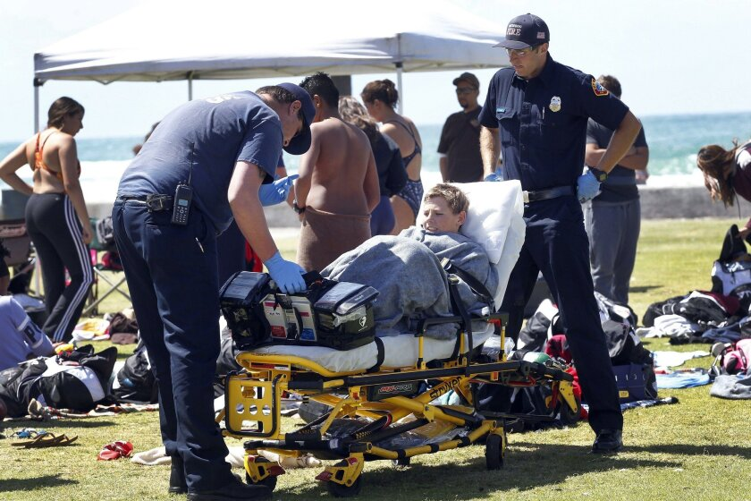 A student with the Rancho Verde High School swim team is wrapped in a blanket to keep him warm before being taken to an ambulance for evaluation after he and others were taken from the water at La Jolla Cove on Tuesday March 29, 2016.