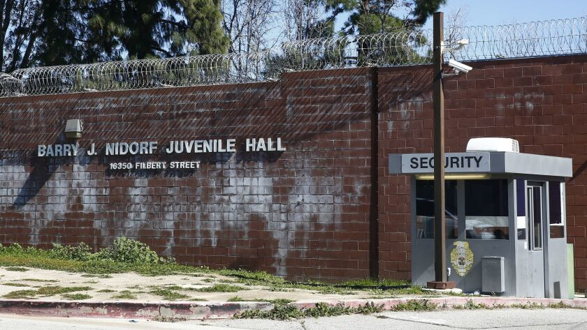The Barry J. Nidorf Juvenile Hall in Sylmar, where dozens of youths are quarantined.