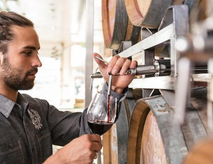 Wine is poured directly from the barrel at LJ Crafted Wines in Bird Rock, 5621 La Jolla Blvd.
