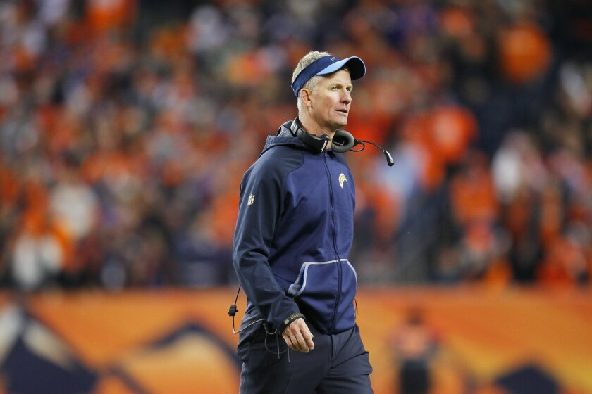 Chargers coach Mike McCoy looks on during the Broncos game.