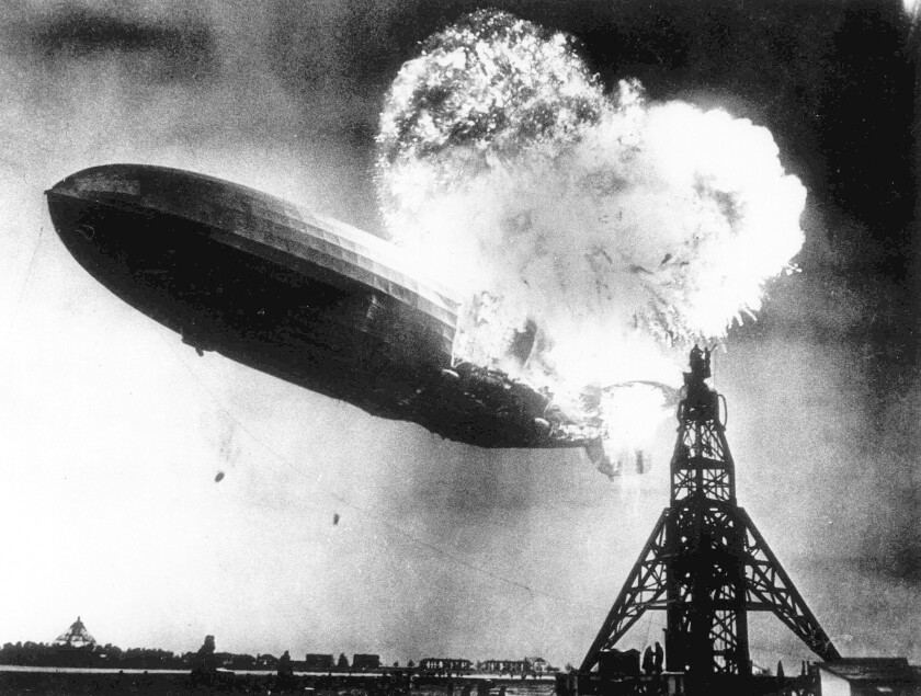 The Hindenburg burst into flames while mooring in Lakehurst, N.J., in 1937.