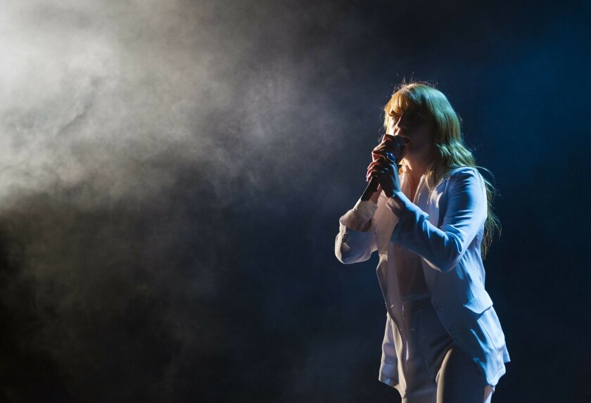 Day three of the 2015 Coachella Valley Music and Arts Festival.  Florence Welch of Florence and the Machine on stage during her performance that wowed the audience.
