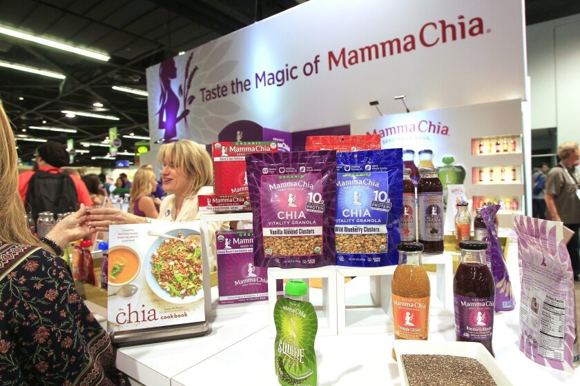 This is the booth of the San Diego based company Mamma Chia at the Natural Products Expo West at the Anaheim Convention Center on Friday in Anaheim, California.