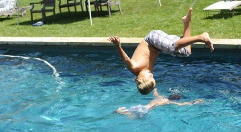 Somersaults off the diving board