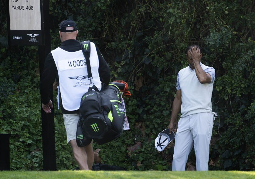 Tiger Woods reacts after bogeying the sixth hole at Riviera Country Club during the second round of the Genesis Invitational on Feb. 14, 2020.