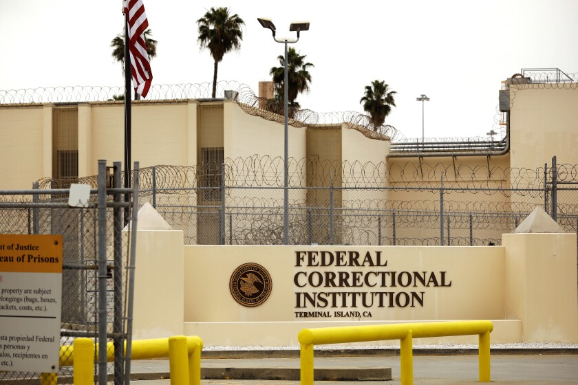 Terminal Island federal prison in San Pedro is seen in April 2020.