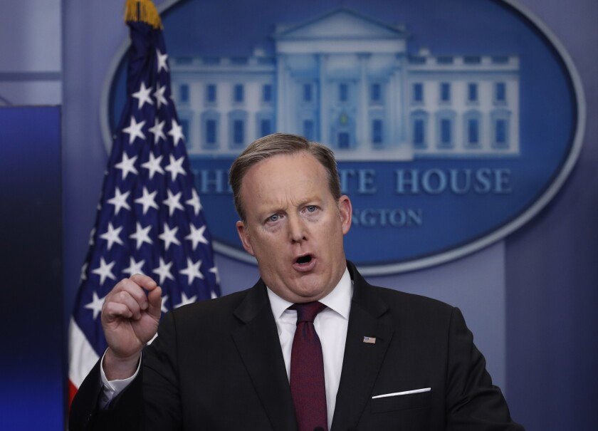 White House press secretary Sean Spicer speaks during a daily press briefing at the White House in Washington, Thursday, Feb. 23, 2017.