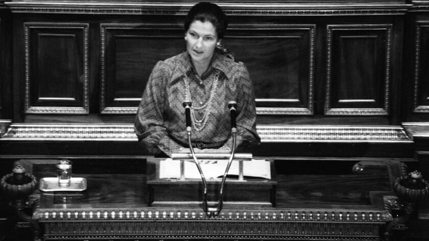 French Health Minister Simone Veil speaks about abortion law at the French National Assembly in Pari