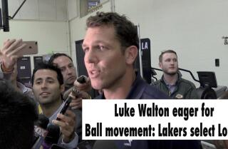 Coach Luke Walton reacts to Lakers selecting Lonzo Ball with No. 2 pick in NBA Draft