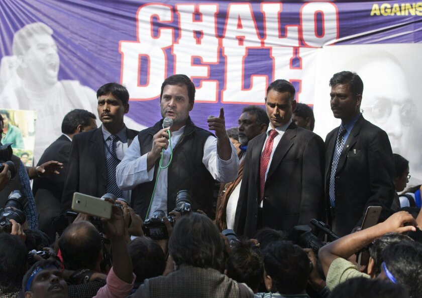 Congress vice president Rahul Gandhi addresses students during a protest in New Delhi, India, Tuesday, Feb. 23, 2016. Thousands of students and teachers are gathering in the heart of the Indian capital to protest the recent death of a student due to caste discrimination and the arrest of a student leader on sedition charges in New Delhi. (AP Photo/Tsering Topgyal)