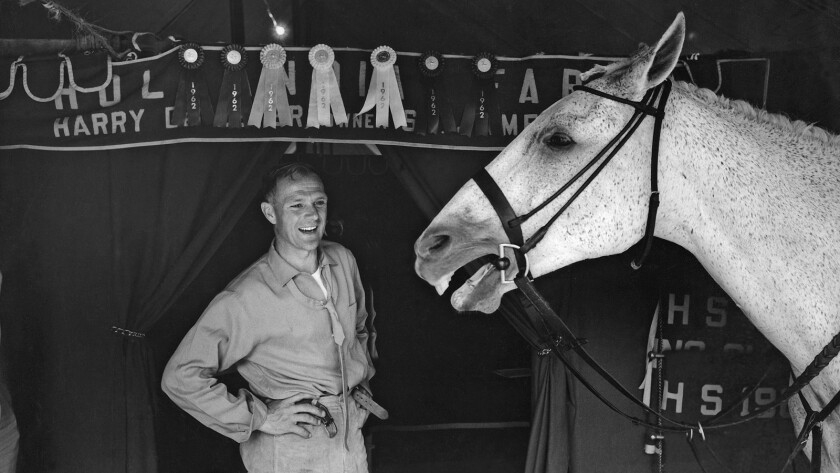 """Harry deLeyer and his horse Snowman, the subjects of the documentary """"Harry & Snowman."""""""