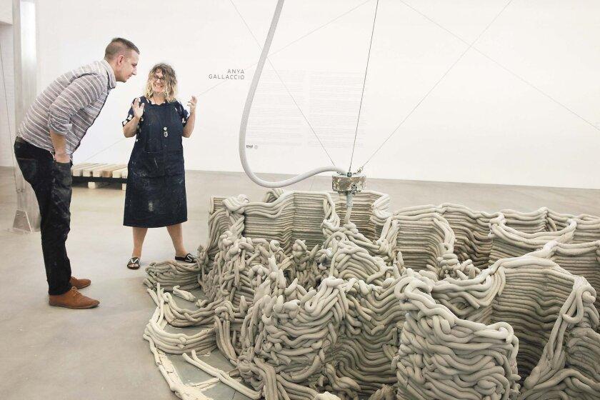 Artist Anya Gallaccio with assistant Josh Miller. Photo: Giana Leone