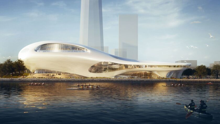 A rendering shows Ma Yansong's Treasure Island design for the Lucas Museum of Narrative Art.