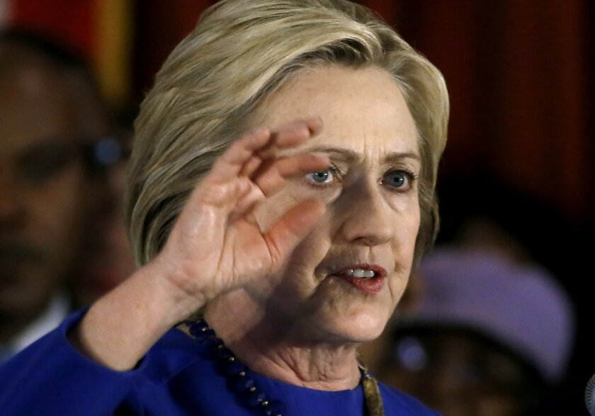 Democratic presidential candidate Hillary Clinton speaks during a campaign stop, Wednesday, Feb. 17, 2016, in Chicago. (AP Photo/Charles Rex Arbogast)