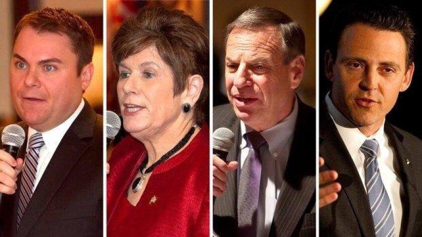 2012 candidates for San Diego mayor Carl DeMaio, Bonnie Dumanis, Bob Filner and Nathan Fletcher.