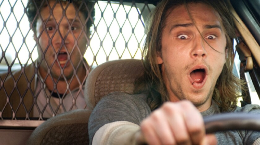 """FULL SPEED AHEAD: Sony is releasing """"Pineapple Express,"""" starring Seth Rogen, left, and James Franco, today to get buzz heading into the weekend."""