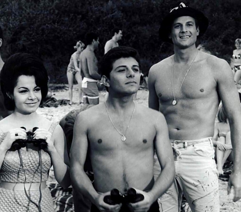"""In 1963's """"Beach Party,"""" Jody McCrea, right, stars as Deadhead, with Frankie Avalon as Frankie and Annette Funicello as Dolores/DeeDee. McCrea would go on to make five more of the popular surf movies."""
