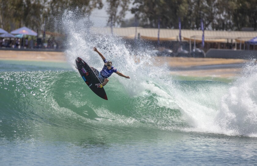 Kanoa Igarashi of Huntington Beach, shown at the Jeep Surf Ranch Pro event on June 20, took silver at the Olympic Games.