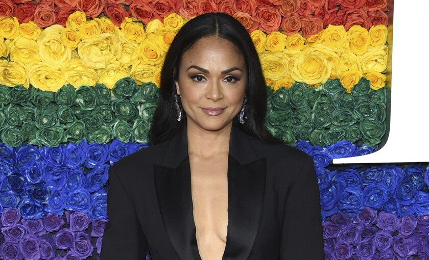"""FILE - Karen Olivo arrives at the 73rd annual Tony Awards on June 9, 2019, in New York. The Tony Award-winner says she won't return to """"Moulin Rouge! The Musical"""" once it reopens, saying she's frustrated by the Broadway industry and especially the silence in the wake of revelations about the behavior of producer Scott Rudin. The musical is not produced by Rudin but Olivo in an Instagram video posted Wednesday, April 14, 2021, said she was not coming back to the show to make a stand about social justice. (Photo by Evan Agostini/Invision/AP, File)"""